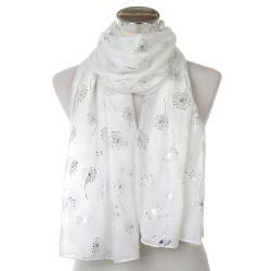 Foulard blanc motif argent