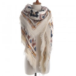 Grand foulard plaid ethnique