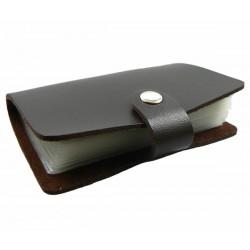 Porte cartes à feuillets marron