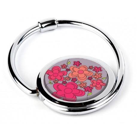Accroche sac pliable fleurs roses